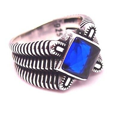 Turkish Handmade  925 Sterling Silver  Sapphire Mens Ring Sz 10 Free Resize
