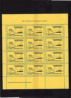 Railway Letter Stamps Ravenglass & Eskdale 1975 Publicity Label Full Sheet