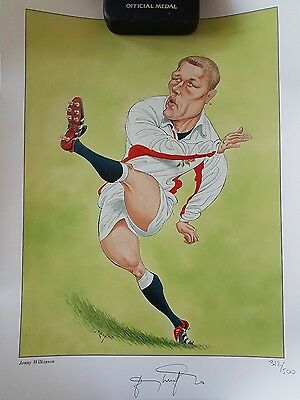 Jonny Wilkinson Signed caricature drawing Rugby World Cup Autograph Memorabilia