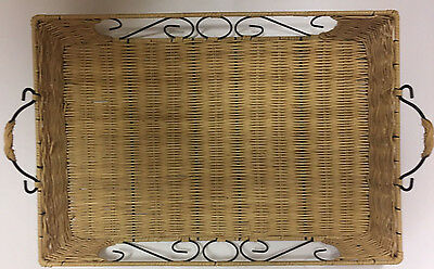Attractive Cane/Wicker and Metal Serving Tray
