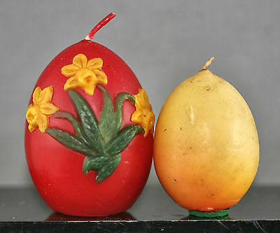 Two Vintage Wax Candles Made In The Shape Of An Egg