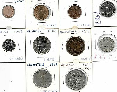 Mauritus Collection Of 10 Coins