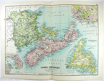 Original 1909 Map of The Lower Provinces of Canada - Maritimes