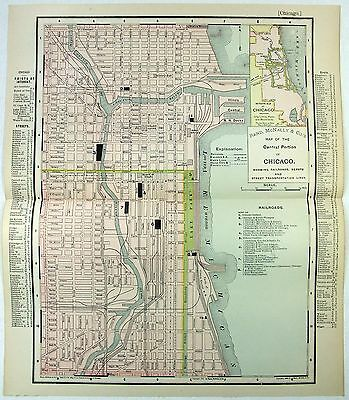 Original 1901 Street & Railroad Map / Plan of Chicago, IL by Rand McNally