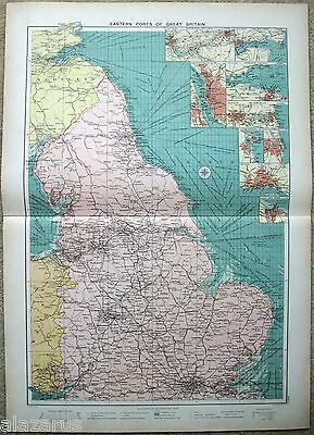 Large Original 1918 Chart of The Eastern Ports of Great Britain