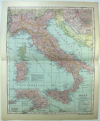 Original 1903 Dated Map of Italy by Dodd Mead & Company