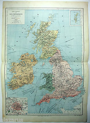 Original French Map of The British Isles by Drioux & Leroy Paris 1884