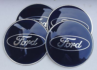 FORD EPOXY RESIN Wheel Hub Caps Badge Emblem Stickers 65mm SET HIGH QUALITY