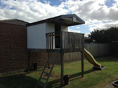Kids Timber Cubby House With Slide
