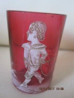 Antique Cranberry Mary Gregory Small Glass Boy With A Whip