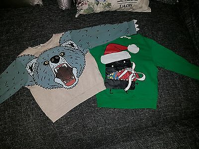 H&m x2 boys Christmas jumpers age 4-6 years