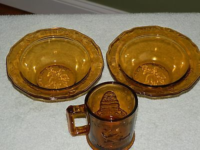 Tiara Amber Glass Mother Goose Bowls and Mug Nursery Rhymes 1960's by R.S.-