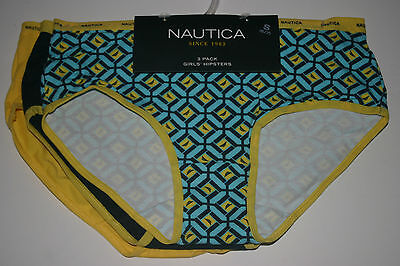NAUTICA Girls 3-PK Hipster Underwear Panty S Small 6 7 NEW NWT Blue Yellow