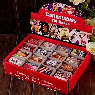 Tin Box Case Can Iron Home Storage USA  Style Candy