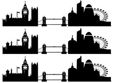London Skyline Silhouette Cake Topper (1)  A4 Edible Printed Iced Sheet