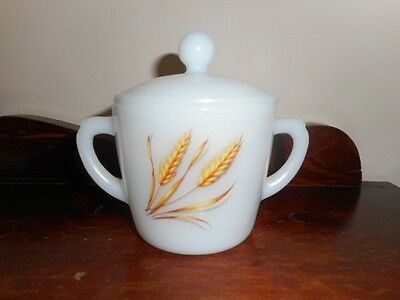 FIRE-KING Oven Ware Lidded Sugar Bowl with Wheat Pattern!