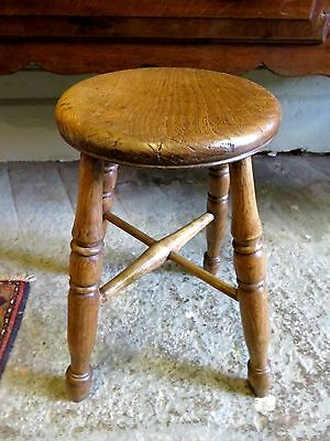 Early 19Th C Antique Waxed Solid Elm Country Farm House Round Stool