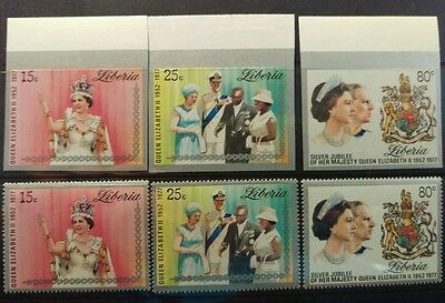 1977 Liberia Silver Jubilee sets Perforated and Imperf. MUH c3