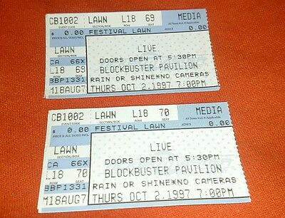 1 used LIVE ticket stub CHARLOTTE NC 10/2/1997 free US shipping