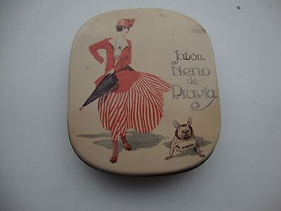 small quirky collectable tin containing soap-picture -fashionable lady with dog