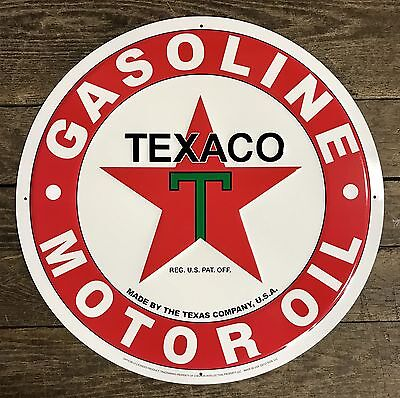 "TEXACO Gasoline ~ Motor Oil Vintage Red 24"" Circular Embossed Tin Metal Sign"