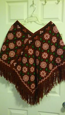 Hand Made Fringed Poncho, Mutli Color Floral, Hand Stitched, Mexico, NWOT