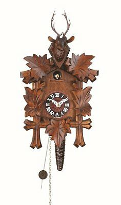 Quarter Call Cuckoo Clock With 1-Day Movement Five Leaves, Head Of A Deer New