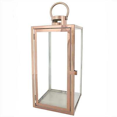 Beautiful Copper Metal Contemporary Rose Gold & Glass Lantern With Handle