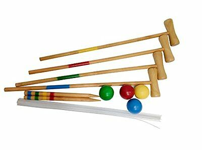 Funmate Giant Wooden Outdoor Garden Traditional Croquet Game Set Toy Play Soft N