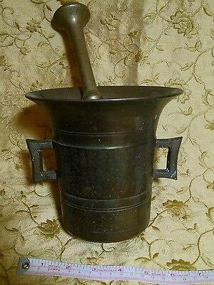 """Antique heavy large brass mortar and pestle, 6""""diameter"""