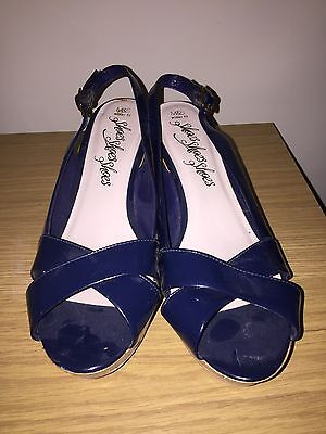 M & S Wide Fit Blue Patent Wedge Sandals Size 8