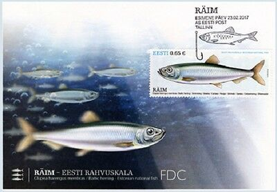 First day cover FDC of ESTONIA 2017 - Estonian national fish – Baltic herring
