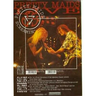 PRETTY MAIDS Screamin Live FLYER German Massacre 1995 Two Sided A4 Size Colour