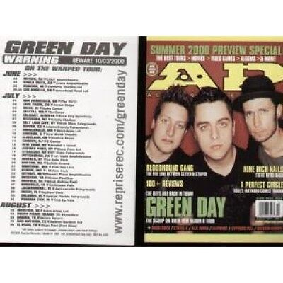 GREEN DAY Ad 2000 Tour Postcard CARD US 2000 Postcard From The Warning Tour