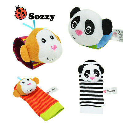 1 set 4 Newborn Baby Watches & Socks Hands Foot Finders Soft Plush Rattles Toys