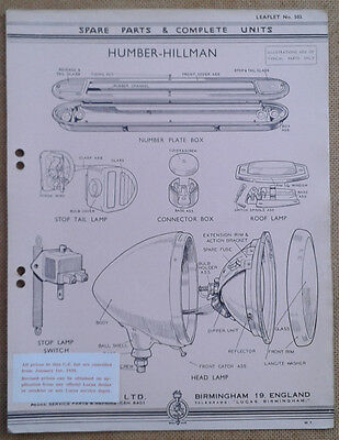 Humber - Hillman  Lucas Parts List 503  Others available