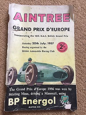 Vintage Aintree 1957 Grand Prix D'europe Programme