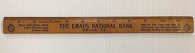 Vintage The Emaus National Bank Advertising Ruler-Emaus, PA
