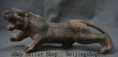 """12"""" Old Chinese iron Feng Shui Zodiac Year Tiger Domineering Ferocity Sculpture"""