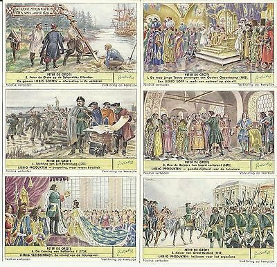 """1953 Set Of 6 Liebig Cards F1572  S1575 """"peter The Great"""" Dutch Text"""