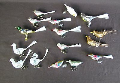 Vtg 14 Clip On Bird Christmas Tree Ornaments Feather Tree