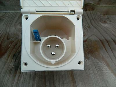 Caravan Motorhome Boat Yacht mains inlet box socket. flush fitting  Beige