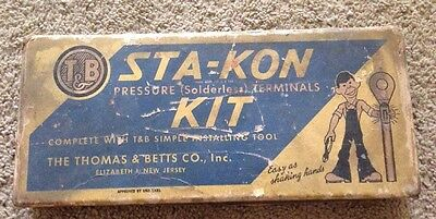 Vintage T&B Thomas & Betts Sta-Kon Pressure Wire Terminal Kit Advertising