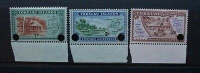 TOKELAU 1967 Decimal Currency Surcharges. Set of 3. Mint Never Hinged. SG9/11.