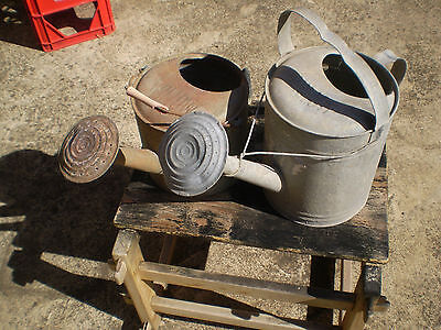 2 X Vintage Willow Galvanised Watering Cans Still Both Have There Heads