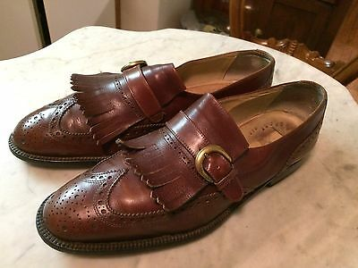 Vtg '1980 DACKS ? monk strap rockabilly wing tip oxford retro mens shoes sz 9.5