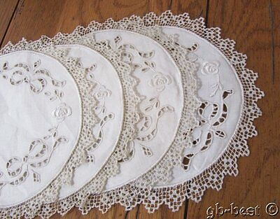 15 Antique Filet Lace Linen Embroidered COASTERS Cut Work LUSH unused