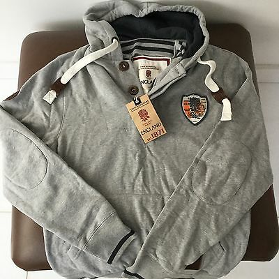 England Rugby 1871 Heritage Grey Hoodie, Leather Trimmings, Fabulous Quality