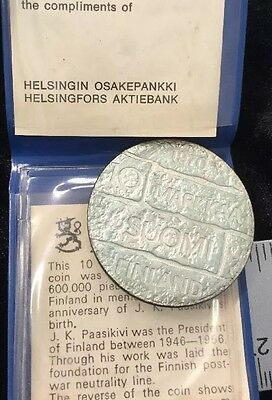 Vintage 10 Mark Coin JK Paasikivi Finland Commemorative with Paperwork