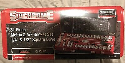 """New SIDCHROME 51 Piece Metric A/F Socket Set 1/4"""" & 1/2"""" tools tool kit spanners"""